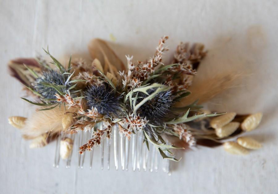 Wedding - dried thistle rustic hair comb boho wedding