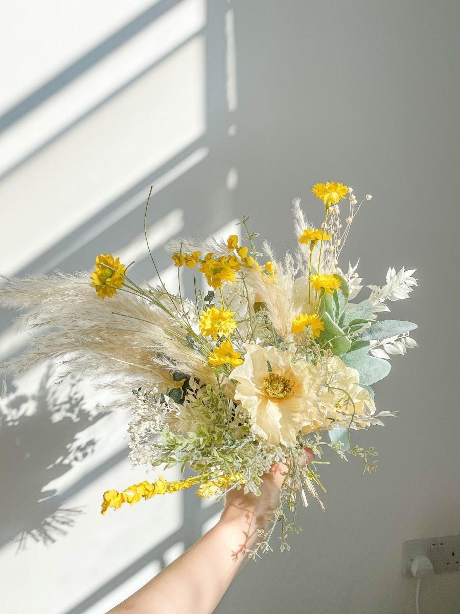 زفاف - Spring Handpicked Bridal Bouquet Silk and Dried Flower Mix / Pampas Grass Bouquet Wildflowers