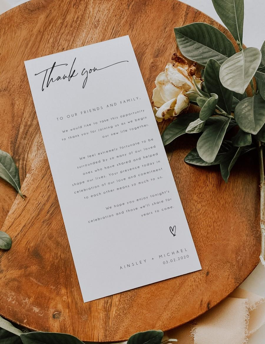 Свадьба - Minimalist Wedding Thank You Note Template, Modern Wedding Place Setting Thank You, Minimal Table Card, Editable, Instant Download, BD115
