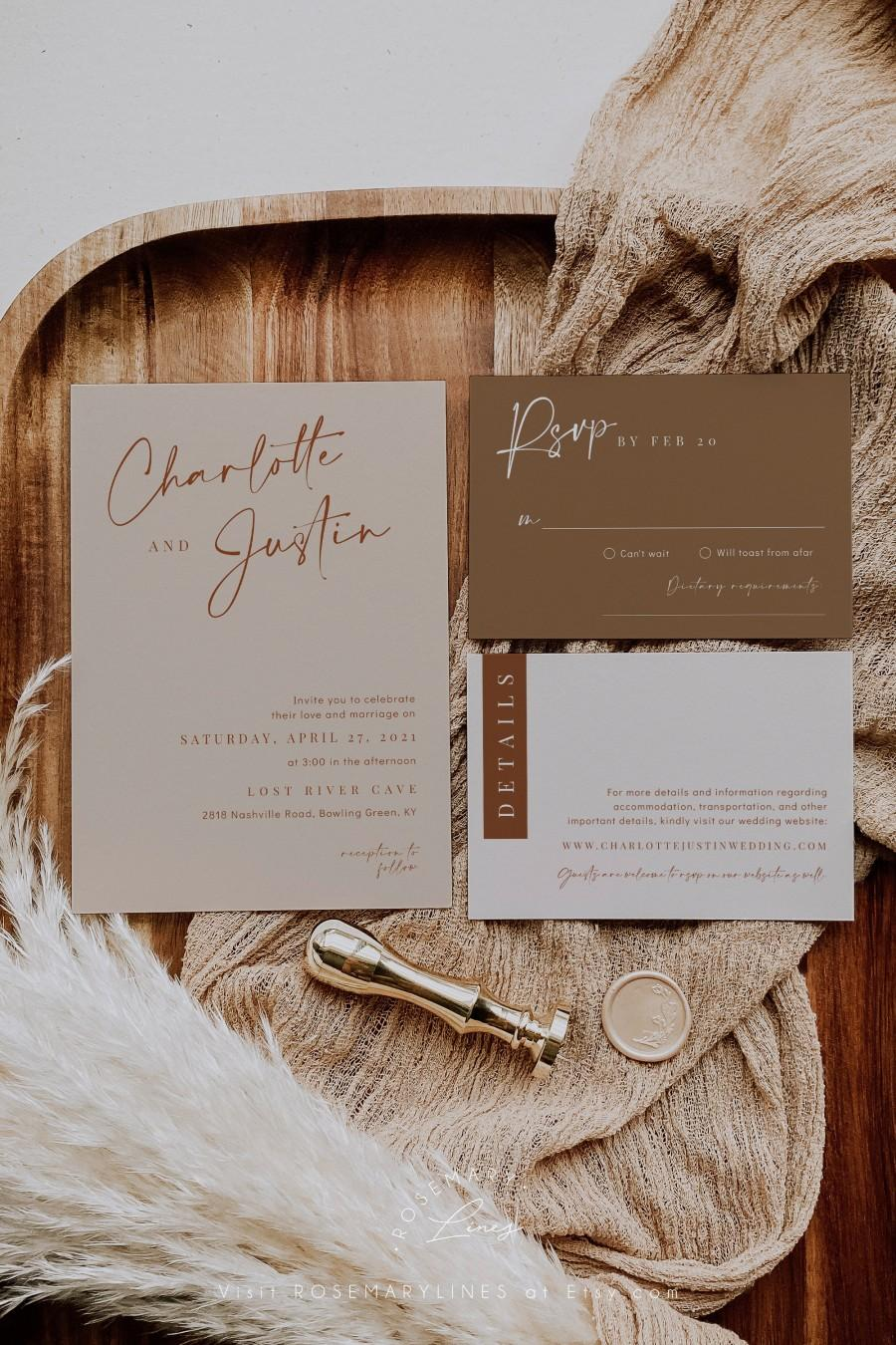 Wedding - Desert wedding invitation template, boho wedding invitations, minimal earthy bohemian wedding invite set, beige terracotta earth tones #134