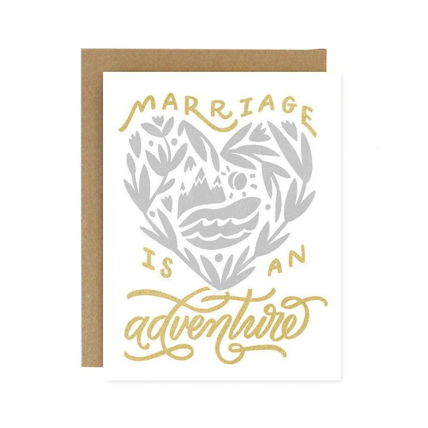 Свадьба - Marriage is an Adventure - Wedding & Engagement - Screen Printed Wedding Card