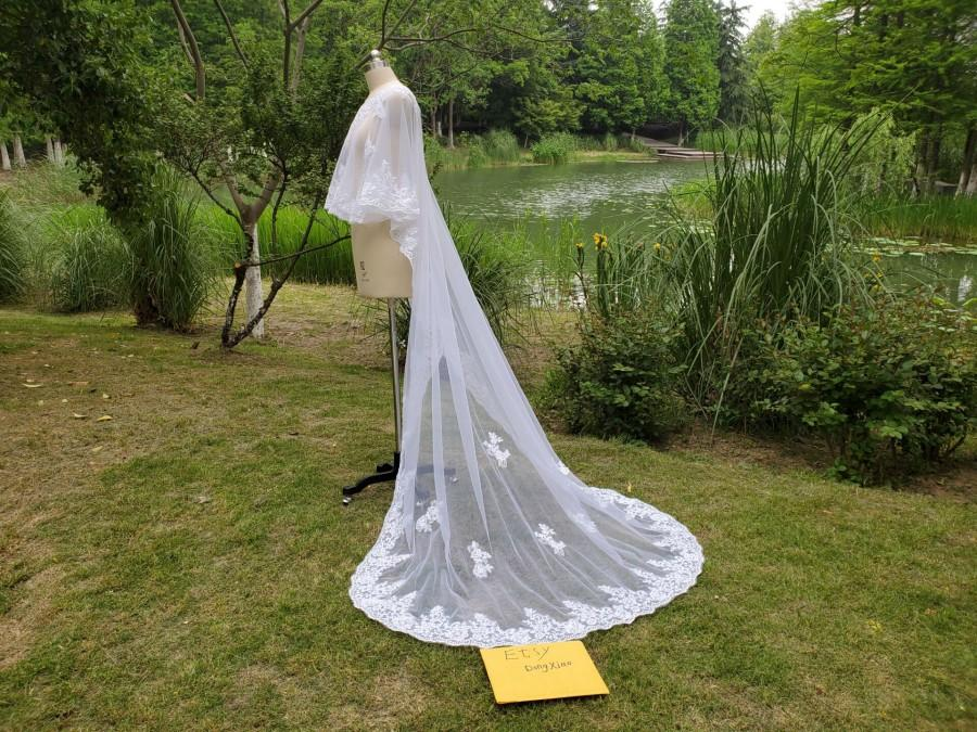 Mariage - Elegant bridal Train shawl veil  lace APPLIQUE pullover Coat prom dress CAPE white or ivory jacket