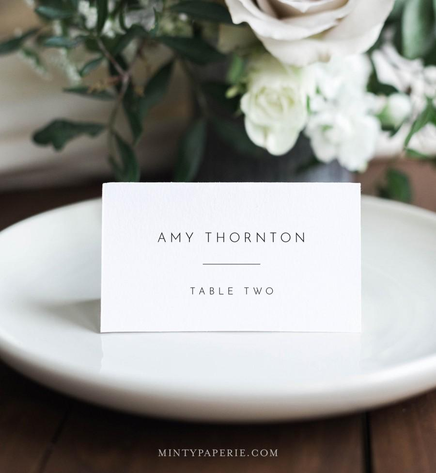 Mariage - Minimalist Place Card Template, Printable Modern Simple Wedding Escort Card & Meal Option, INSTANT DOWNLOAD, Editable, Templett #094-156PC
