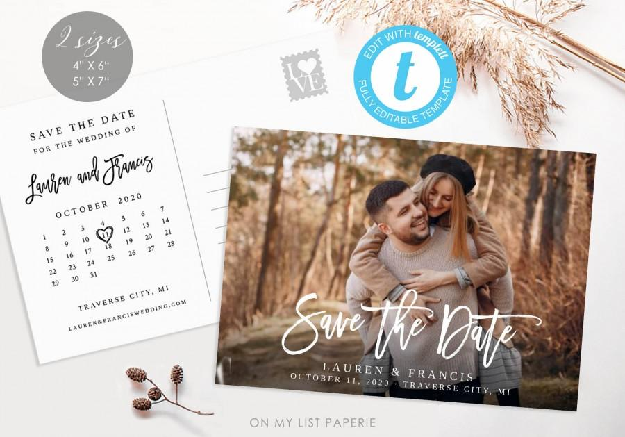 Mariage - Save the Date invitation template photo and calendar, Postcard 100% Editable Two sizes 4x6 and 5x7, INSTANT DOWNLOAD, TEMPLETT #44