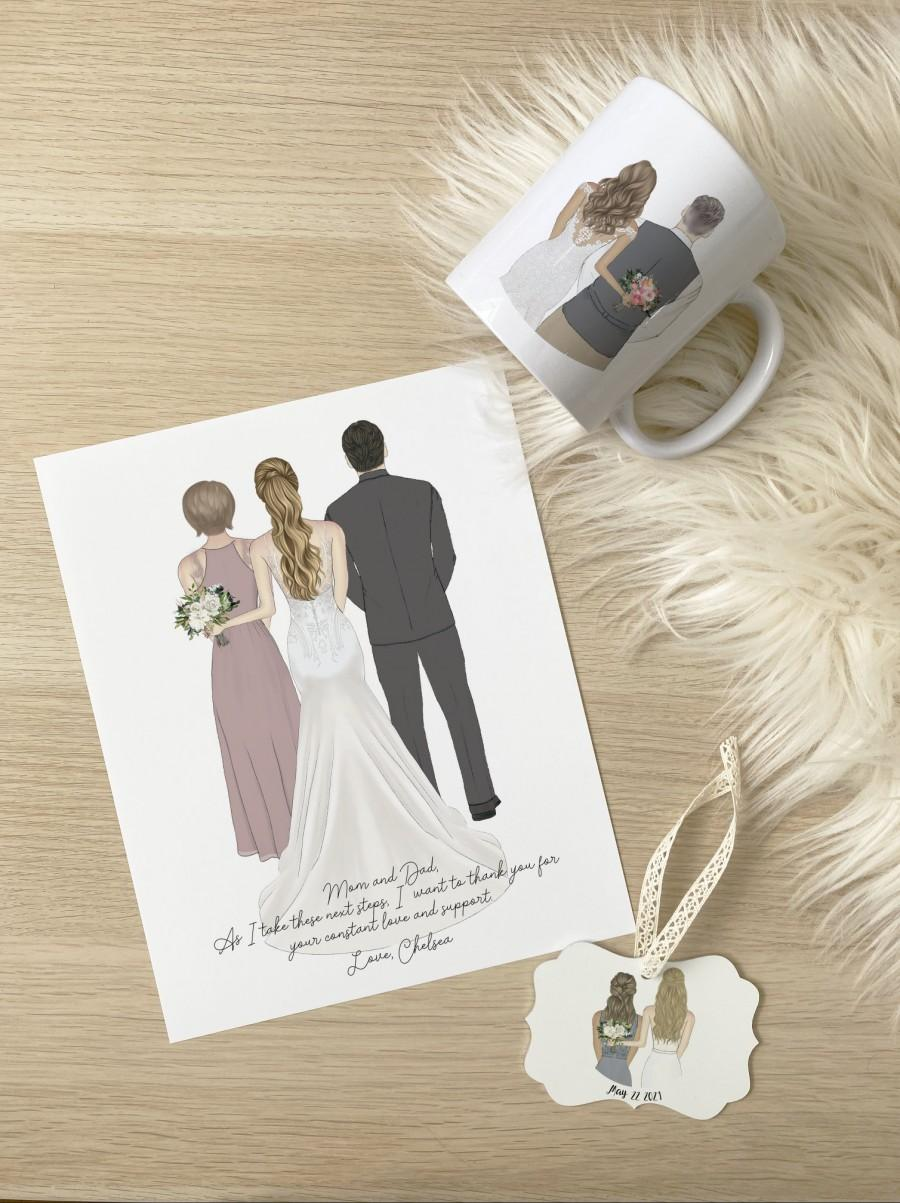 Mariage - Next Day Parents of the Bride Print, Wedding Drawing, Personalized Custom Parents of the Bride Gift, Wedding Thank You