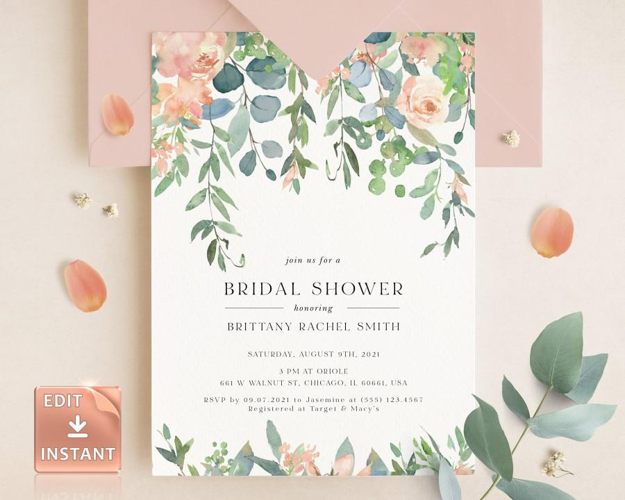 زفاف - TIFF - Bridal Shower Invitation, Bridal Shower Invitation Template, Printable Wedding Shower Invite, Lush Garden Bridal Shower, Blush Shower