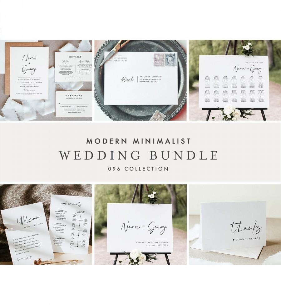 Mariage - Modern Minimalist Wedding Bundle, Wedding Essential Templates, Simple Invitation Suite, 100% Editable, Instant Download, Templett 096-BUNDLE