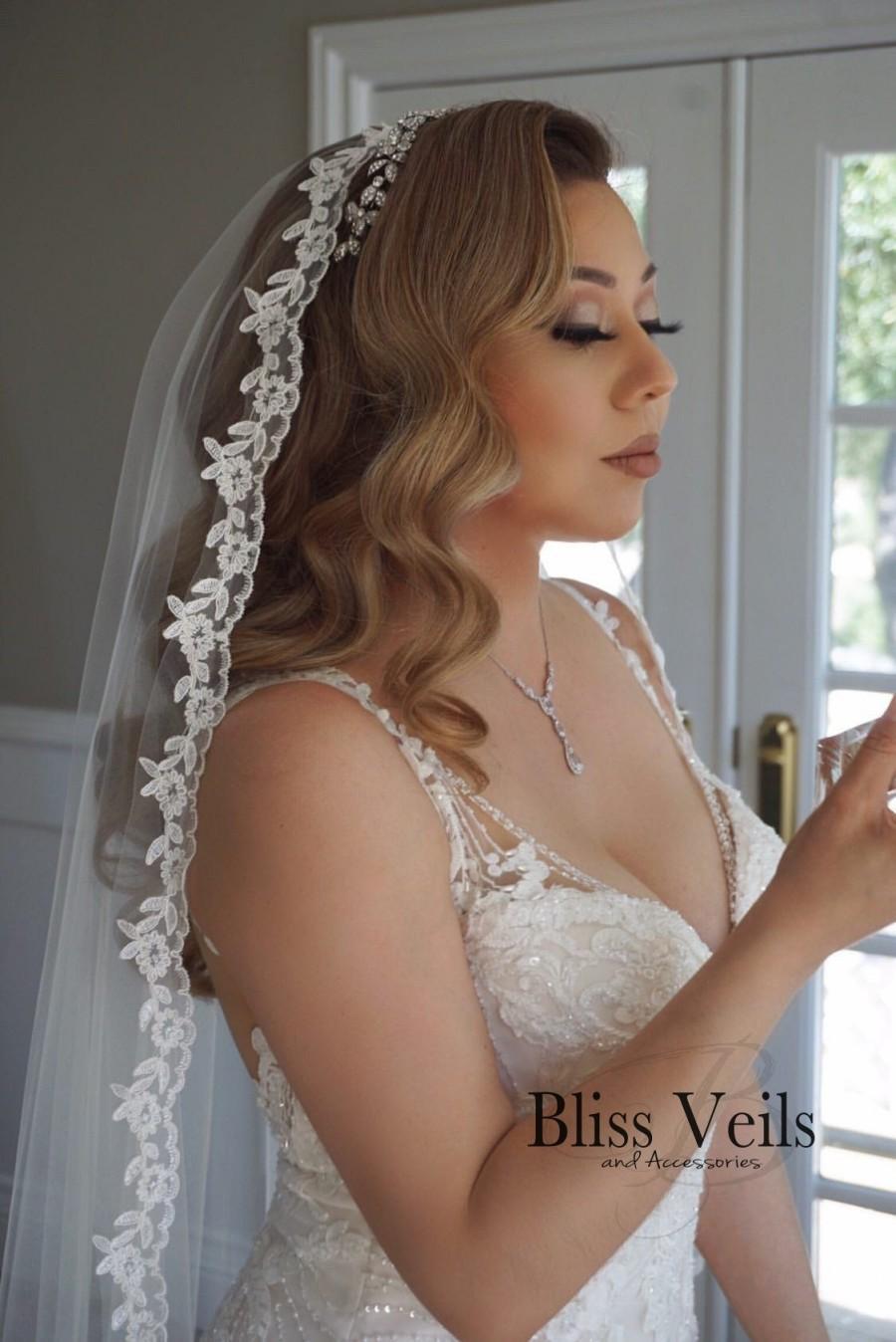 زفاف - Lace Mantilla Bridal Veil - Fast Shipping!