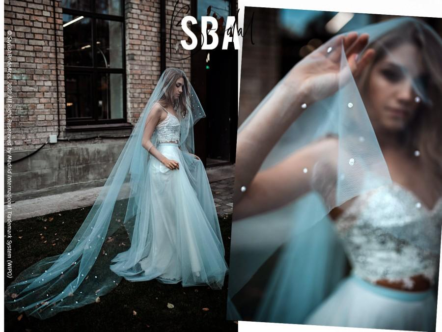Wedding - Dotted Dusty Blue Princess Veil, Unique Handmade Blue Bridal Veil with Dots, Sparkle Veil for Disney Wedding / SBA  2021