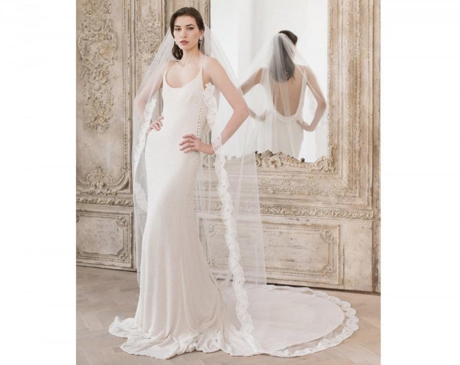 زفاف - Semi edge Lace Wedding Veil, Lace Veil, Floor length veil, Chapel length veil, Cathedral length, Wedding Dresses, Lace Bridal Veil