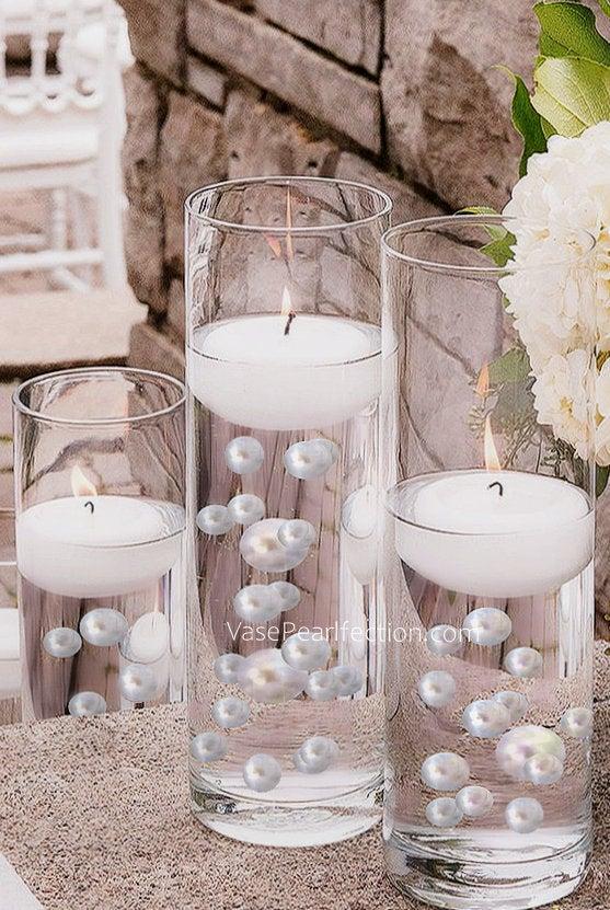 Wedding - Floating White Pearls - No Hole Jumbo/Assorted Sizes Vase Decorations
