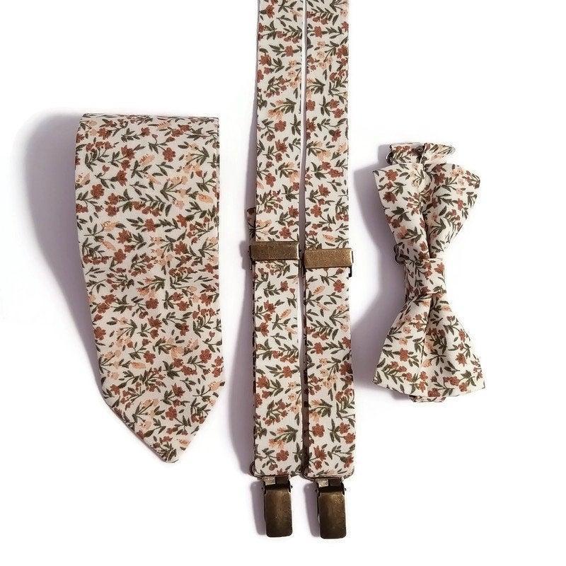 Свадьба - ECRU floral bow tie groom necktie Groomsmen suspenders Beige shabby chic Pastel Fall brown wedding Ringbearer outfit Toddler Infant Brother
