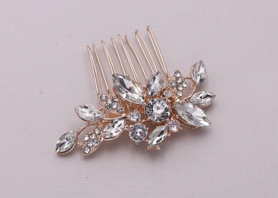 Свадьба - Bridal Comb Rose Gold, Rhinestone Comb, Small Wedding Crystal Hair Comb, Bridal Headpiece, Arianna Rose Gold Swarovski Comb