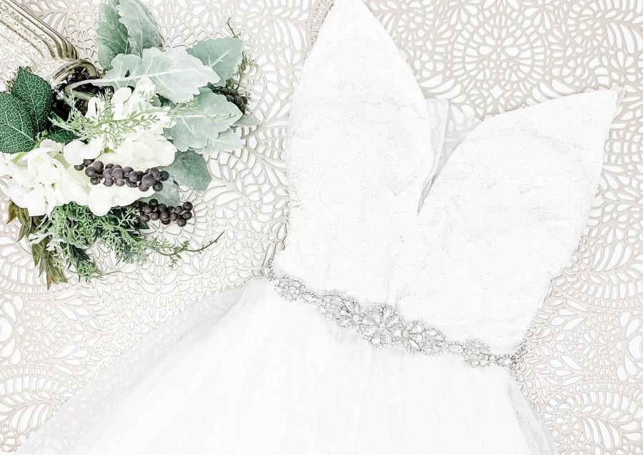 Hochzeit - Silver Crystal Bridal Belt - Silver Wedding Belt - Wedding Dress Sash - first communion - Flower girl belt - Crystal Belt - Style: PARKER
