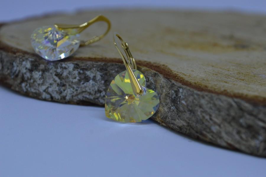 Свадьба - Sterling Silver Earrings with Swarovski Crystals / Heart Earrings / Lever Back earrings / 14 mm Heart / 925 silver / Wedding Earrings /
