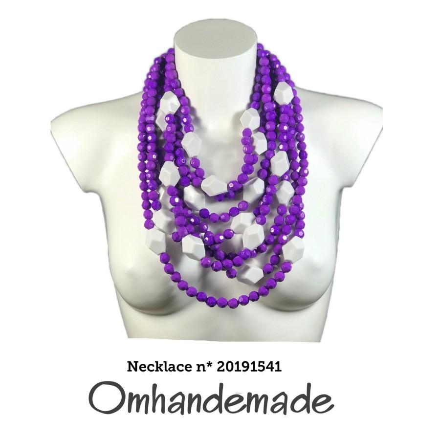Свадьба - 20191541 Women's necklace Purple and white multiwire necklace layers relief statement necklace, resin bijoux by Omhandemade