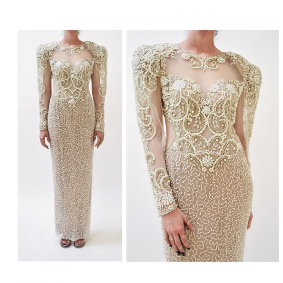 زفاف - 80s 90s Vintage White Beaded Gown Dress Small Medium Lillie Rubin // Vintage Wedding Gown White Sheer Beaded Long Dress Sleeves Pageant