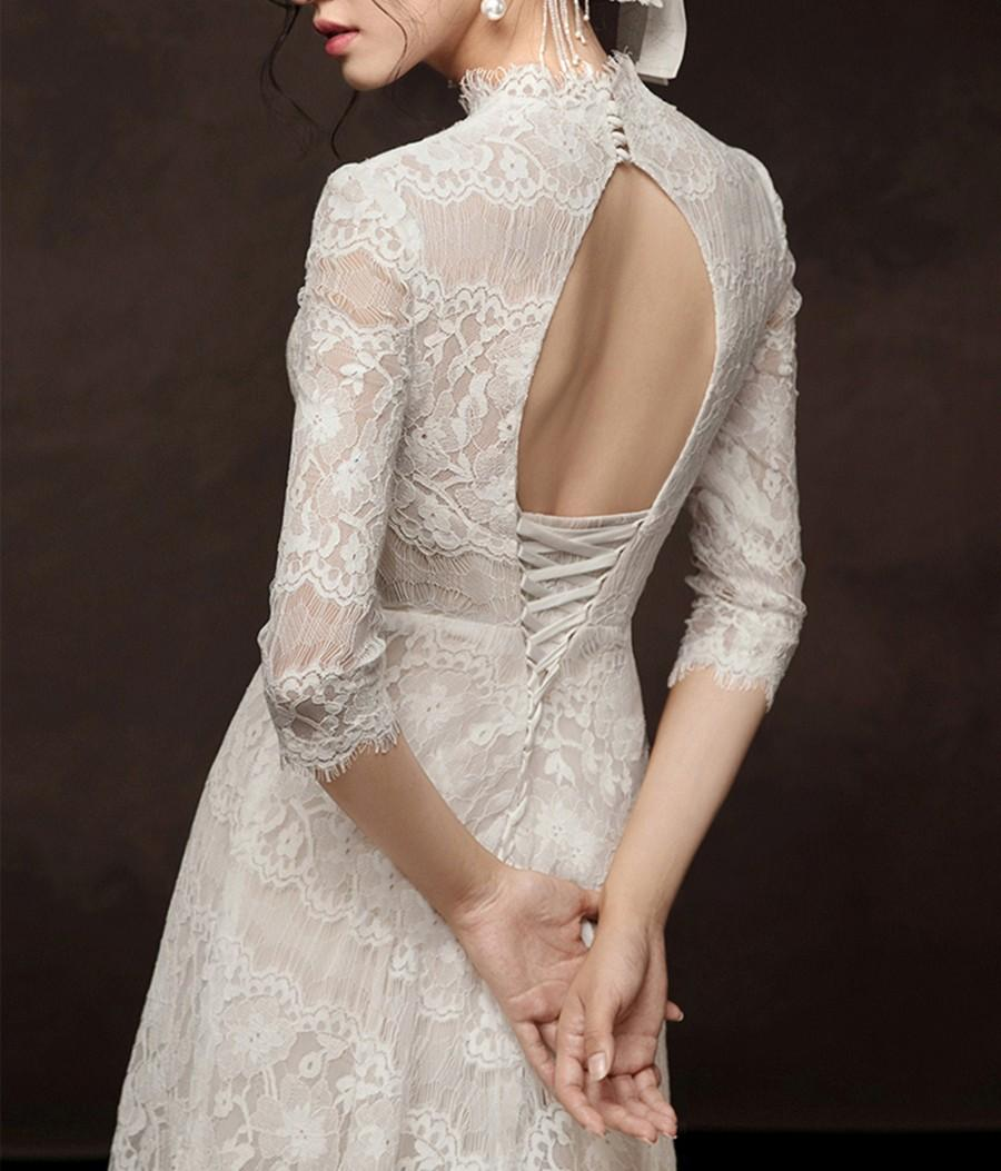 Mariage - Elegant Lace Wedding Dress Dreamy A Line Bridal Dress Ivory 3/4 Sleeve Bridal Gown Cathedral Train Tulle Skirt Vintage High Neck Bridal Gown