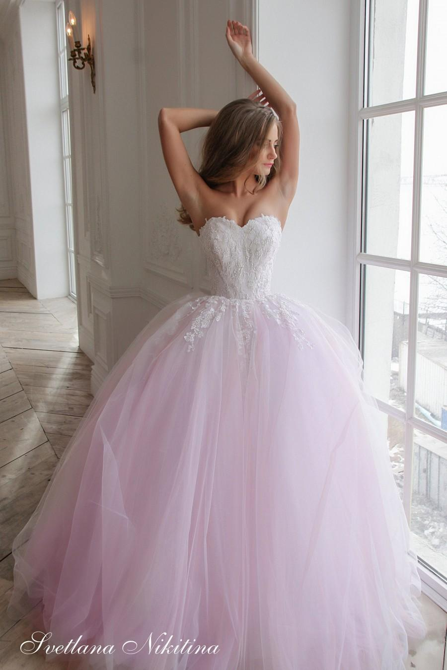 Wedding - Full wedding dress with pink by Svetlana Nikitina Pink wedding dress Lace wedding dress Princess wedding dress Ball bridal gown Sequins