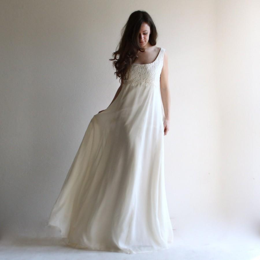 Wedding - Princess wedding dress, empire wedding dress, lace wedding dress, aline wedding dress, simple wedding dress, boho wedding dress, ivory dress