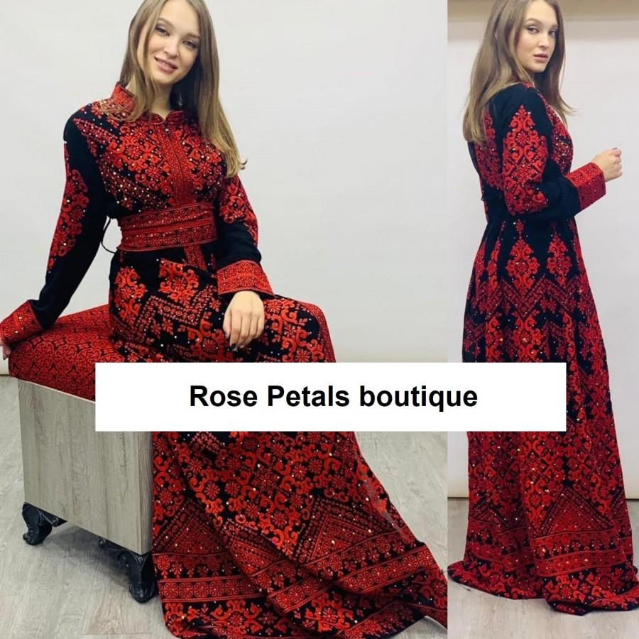 Mariage - Princess Thobe Embroidered Palestinian Maxi Dress Long Sleeves Kaftan Palestinian Design And Embroidery