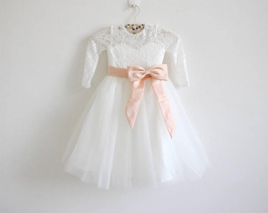 Wedding - Peach Flower Girl Dress, Long Sleeve Flower Girl Dress, Ivory Flower Girl Dress, Lace Flower Girl Dress, Tulle Flower Girl Dress, Peach Sash