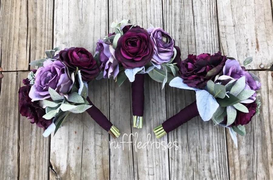 Mariage - Plum Bouquet, Bridesmaid Bouquet, Purple Bouquet, Lavender Bouquet