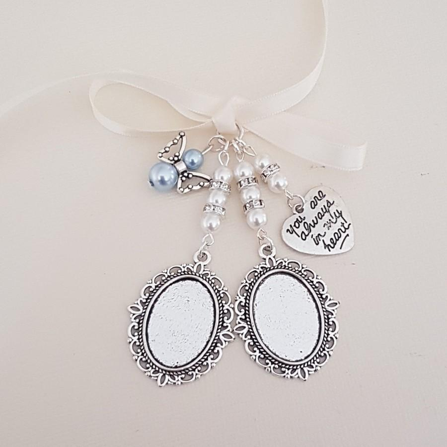 "Свадьба - Double Bouquet Charm, Wedding locket, Silver Oval Bridal Bouquet Locket, ""always in heart"" charm, Angel Charm, a clear cover & Gift Bag"