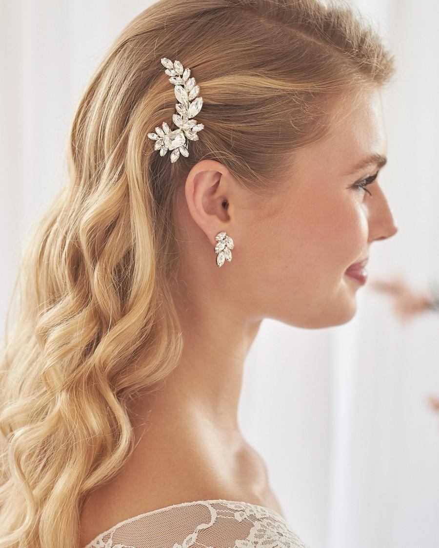 Wedding - Crystal Bridal Hair Clip, Floral Crystal Wedding Hair Clip, Floral Bridal Hair Clip, Crystal Wedding Hair Clip,Bridal Hair Accessories ~2449