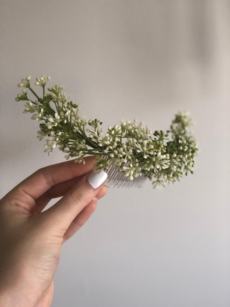 Hochzeit - Baby breath comb, flower hair comb, greenery comb, wedding hair comb, greenery crown, olive leaf crown, flower comb, spring hair comb