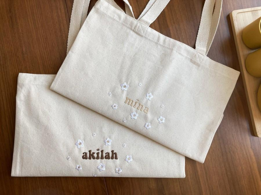 Mariage - Custom Name Tote Bag With Flowers - Embroidery -Personalized Gift