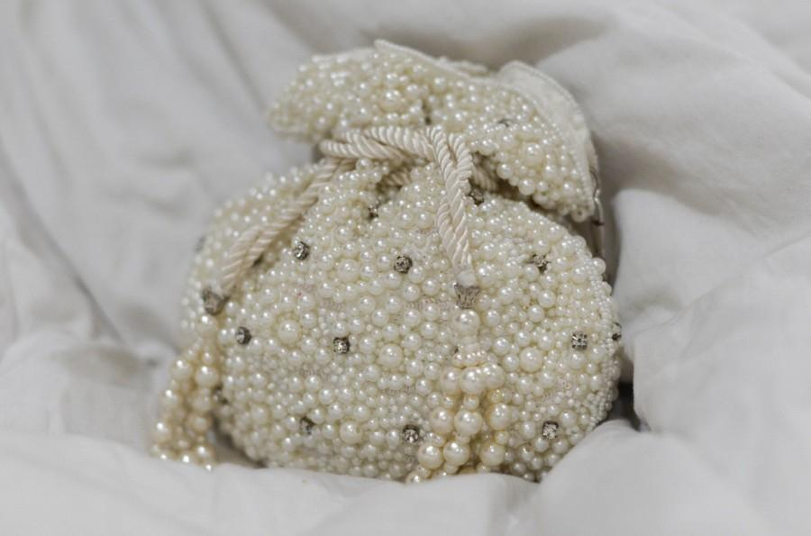 Свадьба - Indian Wedding Accessory, Couture Bridal Bag, Pearl Potli, Embellished, Embroidered, Rhinestone Studded, Gifts for Her, Statement Bag