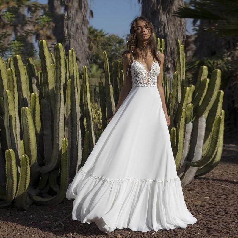Hochzeit - Spaghetti Straps Applique Beach Backless Boho Bridal Gown