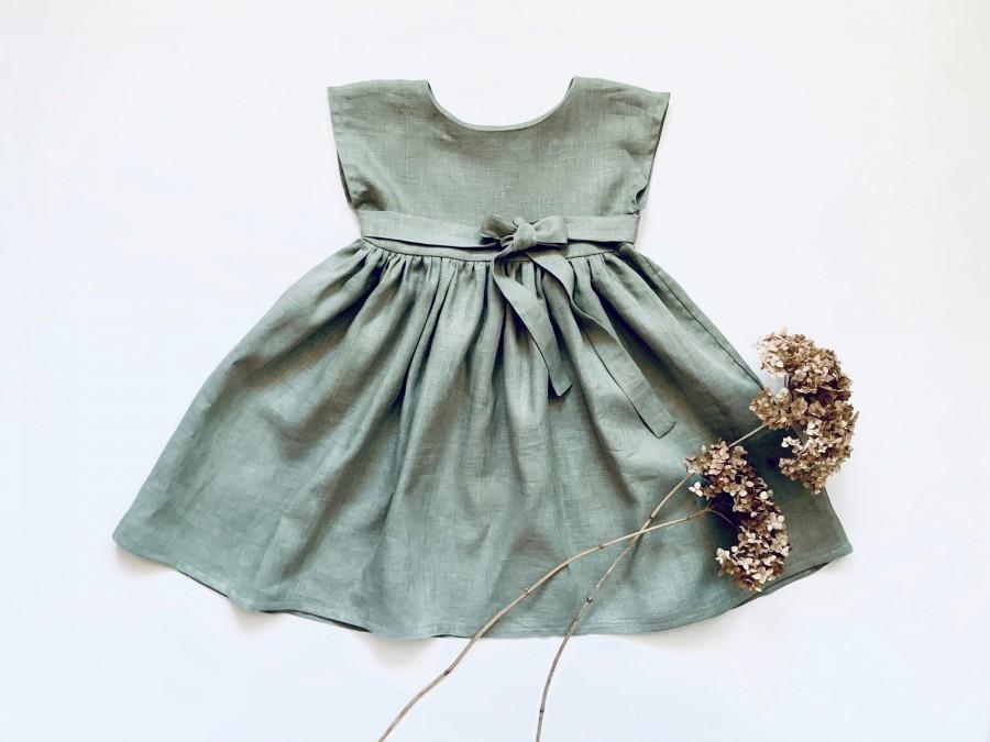 Wedding - Linen Dress, Flower Girl Dress, Easter Dress, Linen Clothing Girls