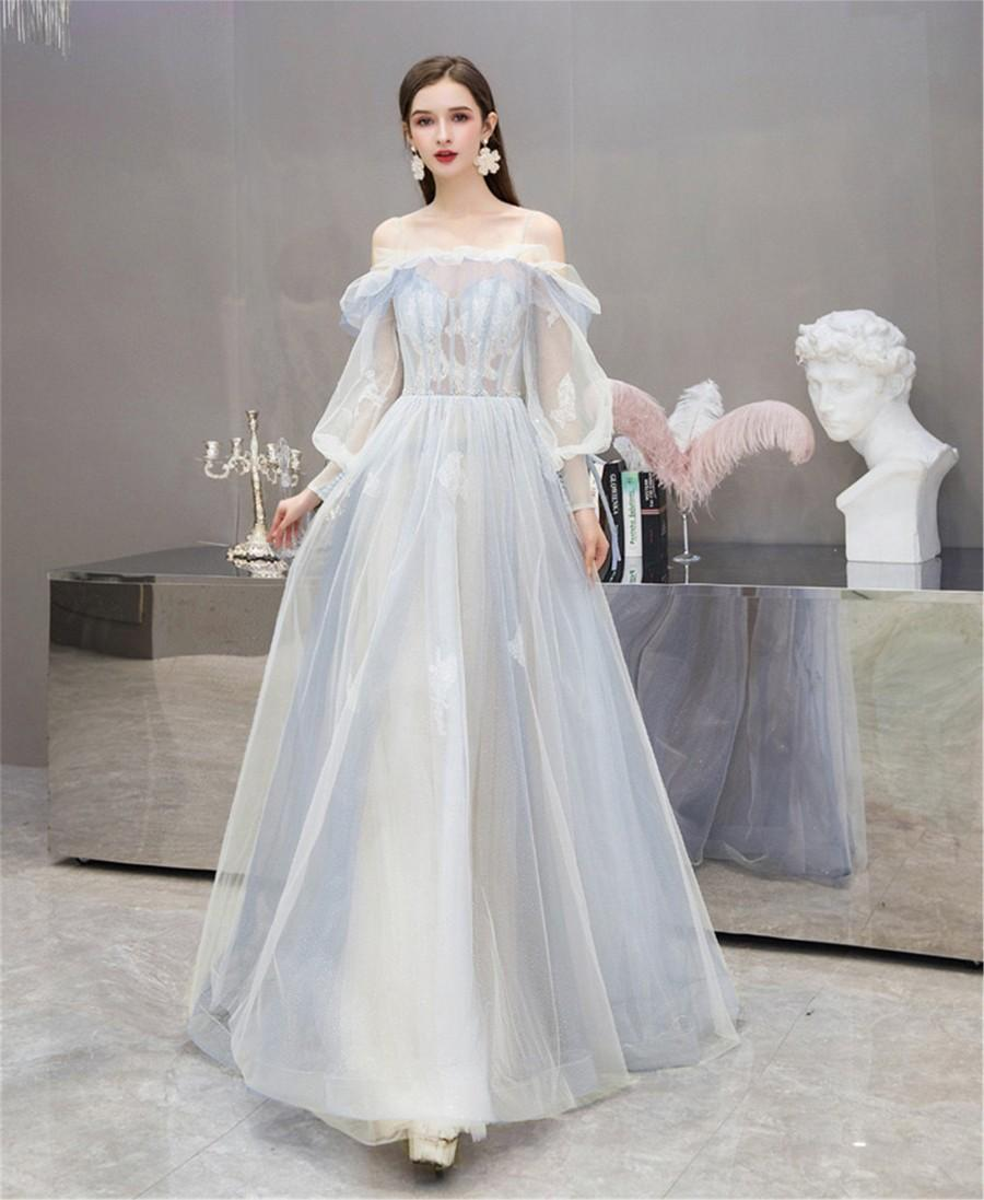 Mariage - Bishop Wedding Dress Light Blue Bridal Dress Lace Up Prom Dress Elegant Formal Event Dress Spaghetti Strap Evening Party Dress Floor Length