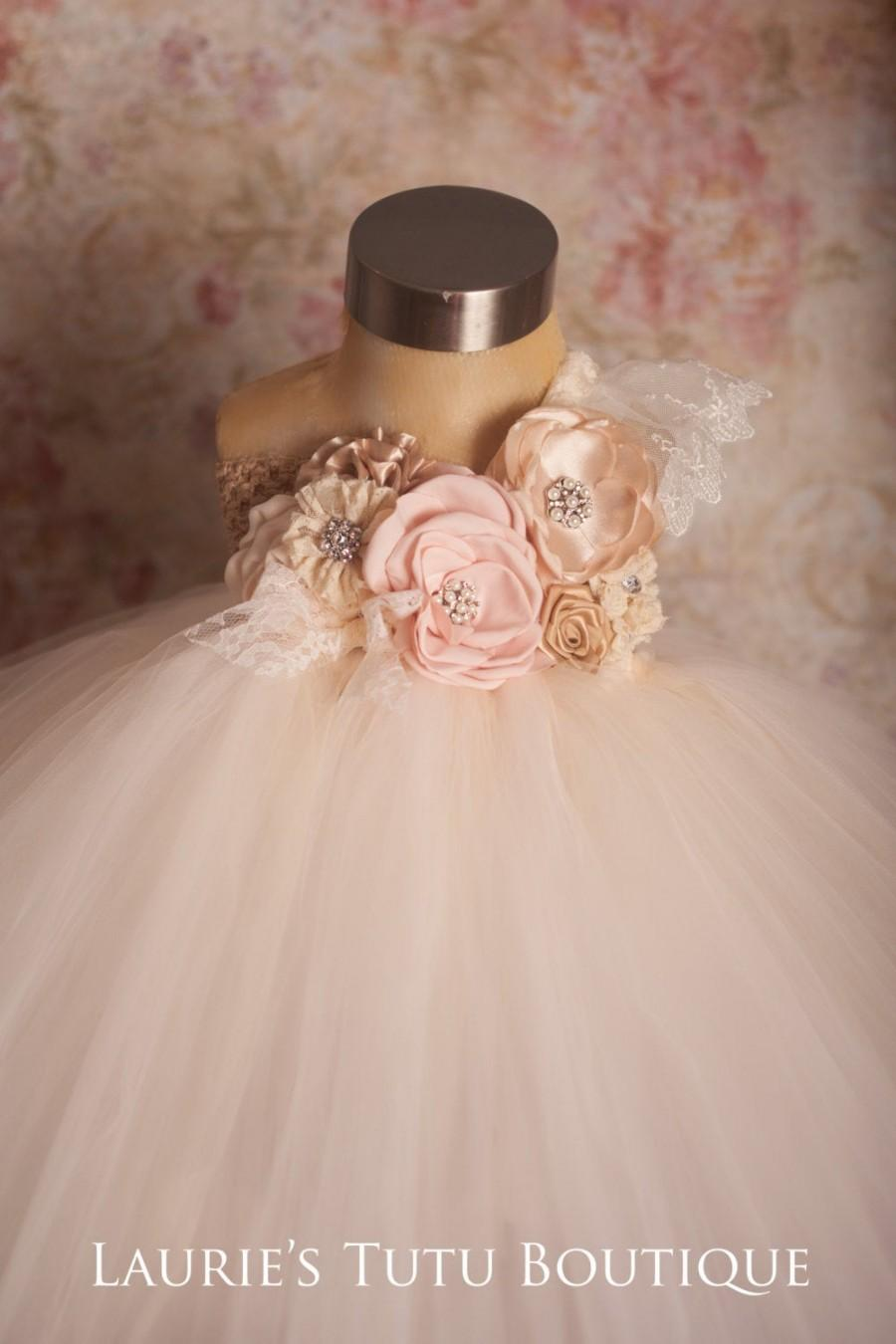Hochzeit - Blush and Champagne Tutu Dress- Blush Flower Girl Dress