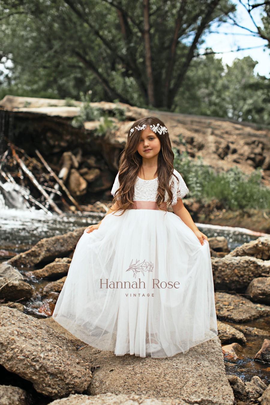 Hochzeit - Flower Girl Dress, Short Sleeve White, ivory, Sage Boho Vintage Tulle and Lace Flower Girl Dresses