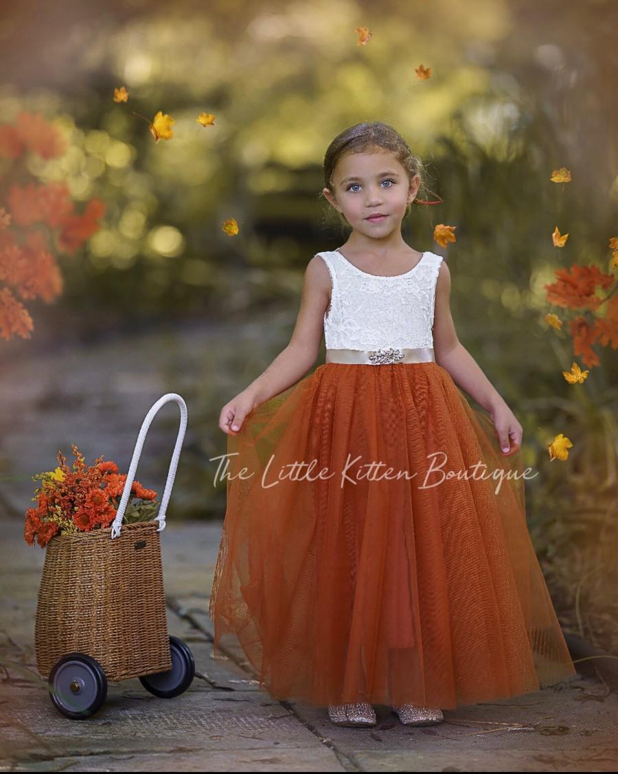 Hochzeit - Burnt Orange Flower Girl Dress, Rust Flower Girl Dress, lace flower girl dress, Rustic flower girl dress, Boho Flower Girl Dress, Fall Dress