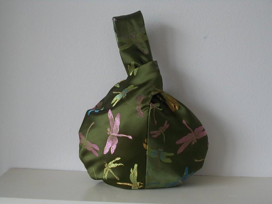 Hochzeit - Green dragonfly brocade Japanese knot bag, wristlet, wrist bag, evening purse, bridesmaid bag, wedding, prom