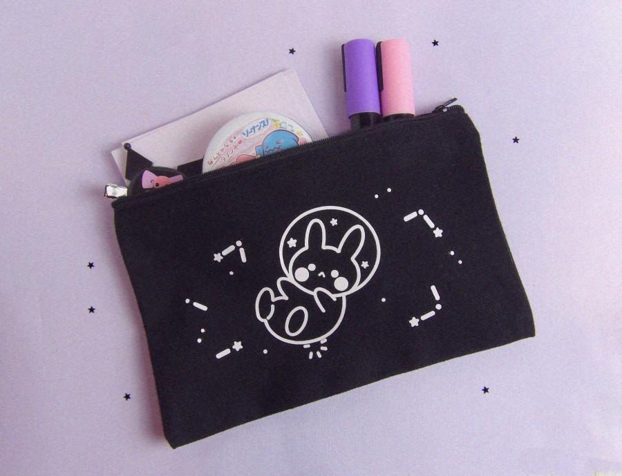Wedding - Space Bunny Pouch - Makeup Bag l Pencil Case l Handmade