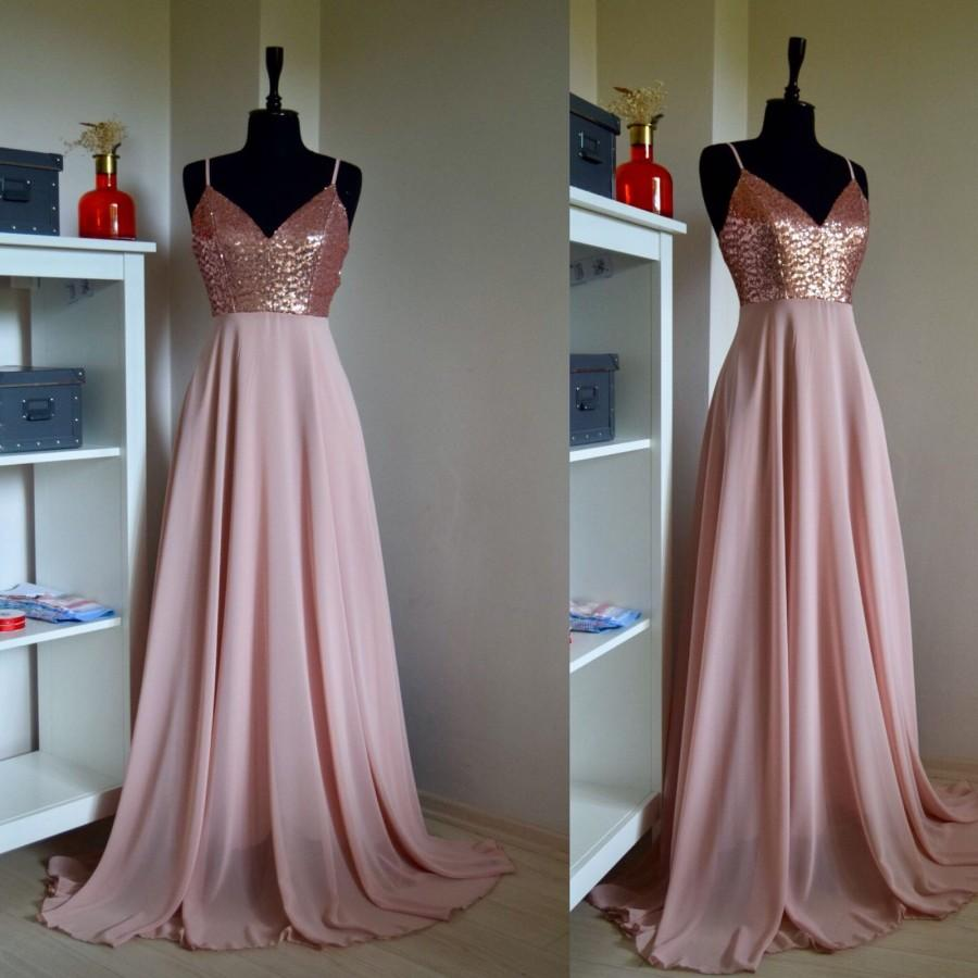 Mariage - Charming Chiffon With Top Sequin Rose Gold Bridesmaid Dress, Wedding Reception Dress, Sequin Pink Prom Dress, Sequin Bridesmaid Dress