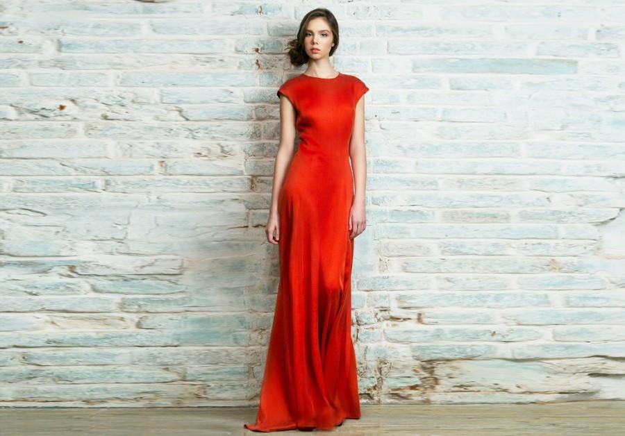 Wedding - red wedding dress with cap sleeve, simple silk bridesmaid dress, Sweetheart elegant Cocktail or party sexy bridal gown, many color / Scarlet