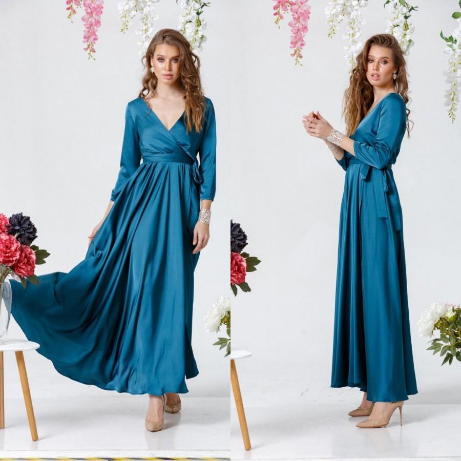 Mariage - Aquamarine Wrap Dress, 3/4 sleeve Long Dress, Silk Maxi Dress, Wrap Bridesmaid Gown, Bridesmaid Wrap Dress, Bridesmaid Maxi Dress