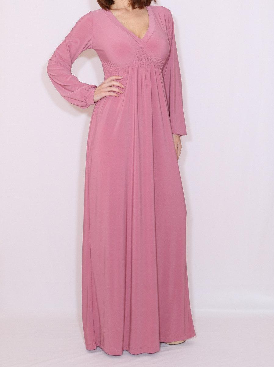 زفاف - Bridesmaid dress with sleeves Women maxi dress Dusty rose maxi dress Long sleeve dress in Mauve