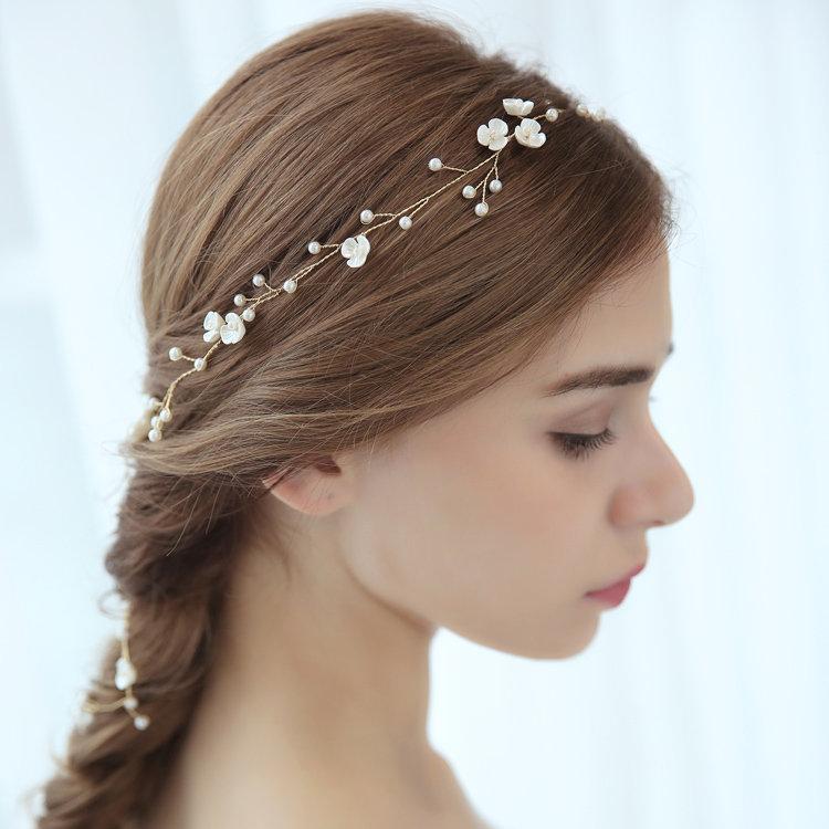 Wedding - Boho hair wire, rose, bridal hair accessories, silver, real porcelain blossom slack, wedding hair vine, gift tip, communion,