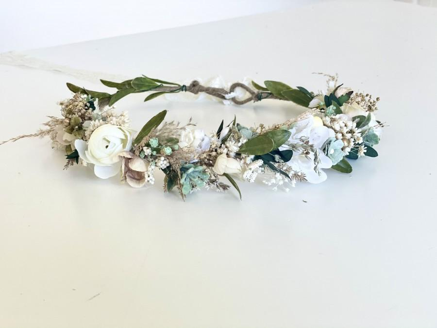 Wedding - Sage Dried Flower Crown, Flower Crowns, Wedding, Flower Girl, Mommy and Me Flower Crowns, Floral Crown- Boho Flower Crown