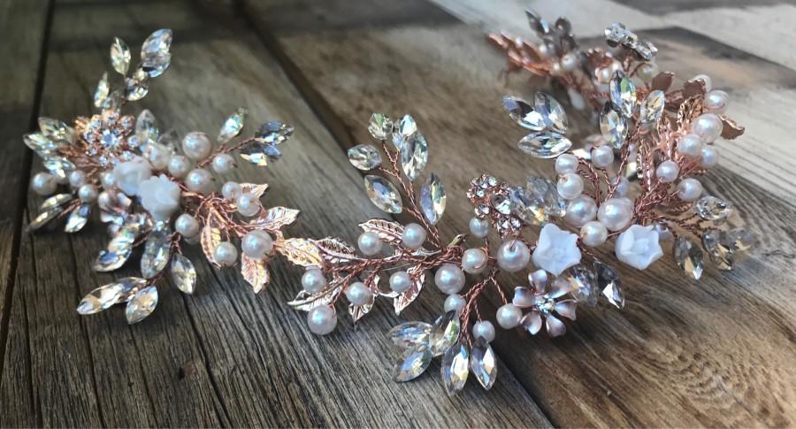 Hochzeit - Rose Gold Wedding Hair Accessory, Bridal Hair Accessory, Bridal Hair vine, Bridal headband, Bridal Hair Jewelry