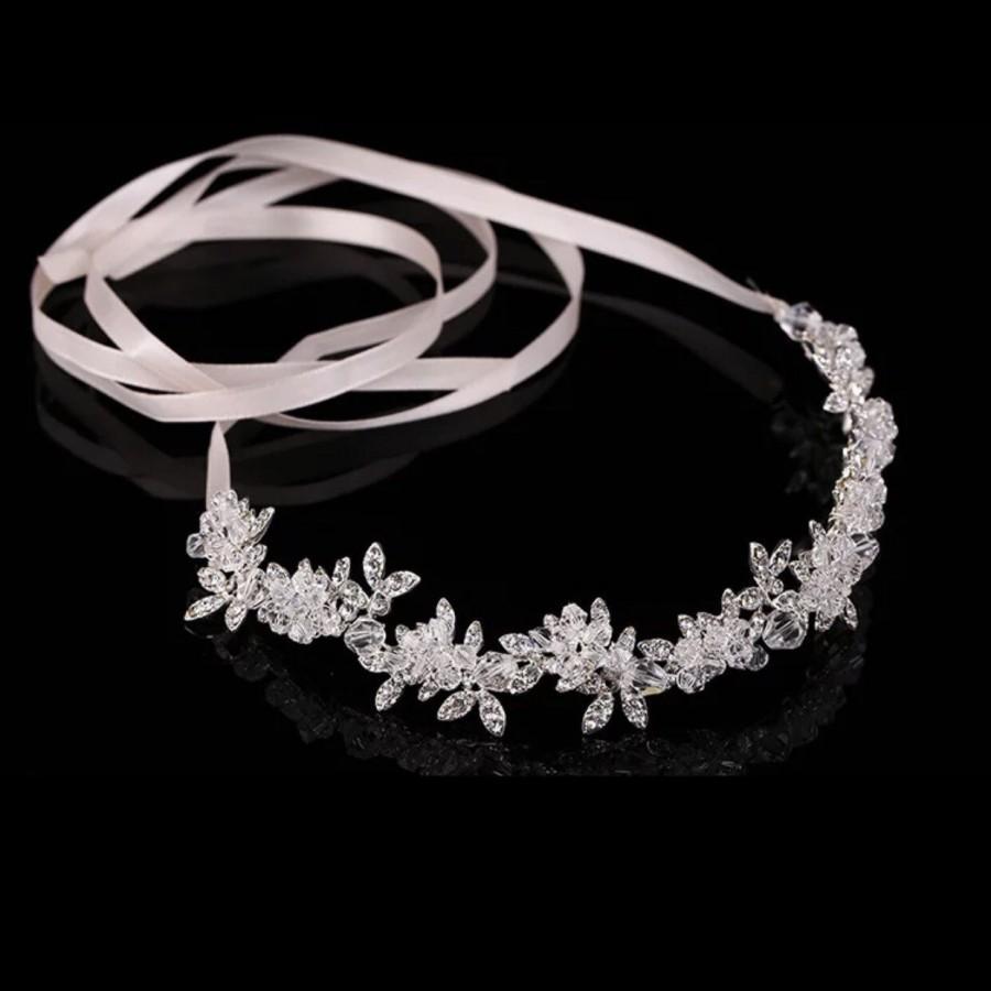 زفاف - Bridal Crystal Headband Silver Hair piece Wedding headband Bridal headband  Wedding Tiaras Bridal Wedding jewelry hair accessory