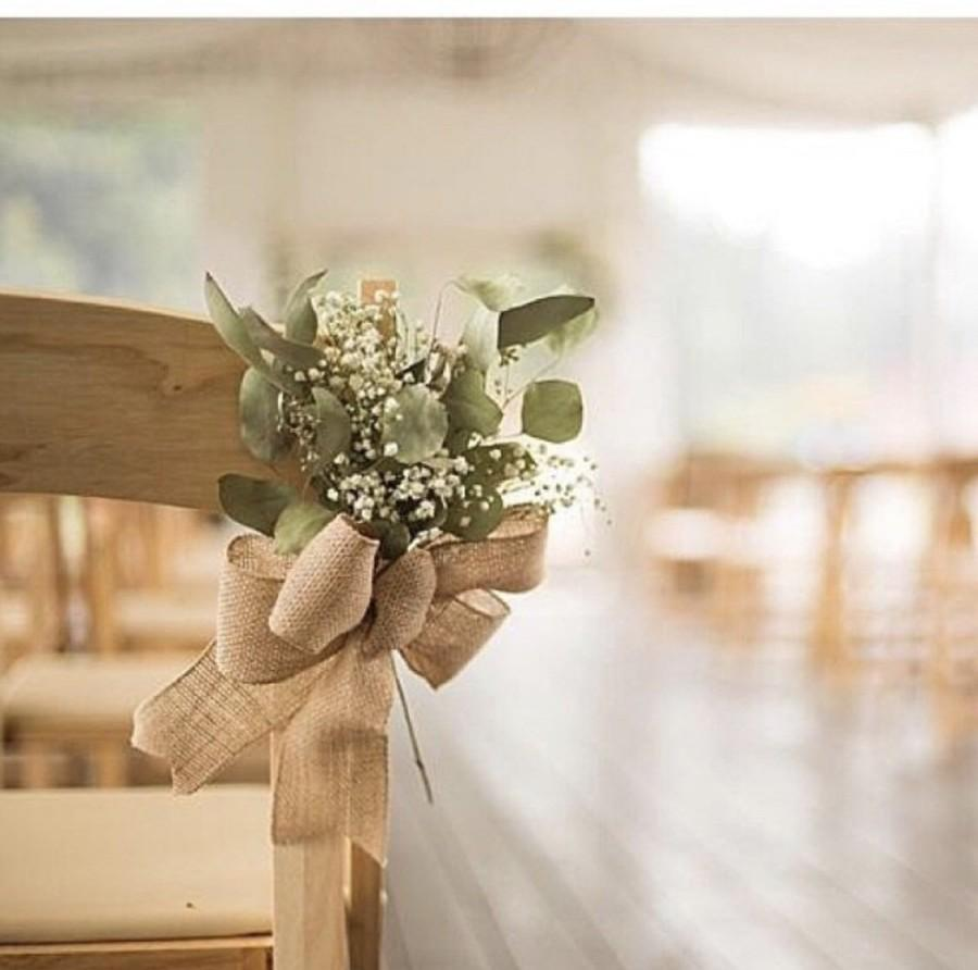 Mariage - Dried baby's breath and eucalyptus chair ties, white flower, country wedding, dried flower, diy wedding, barn wedding, gyp. Church flower