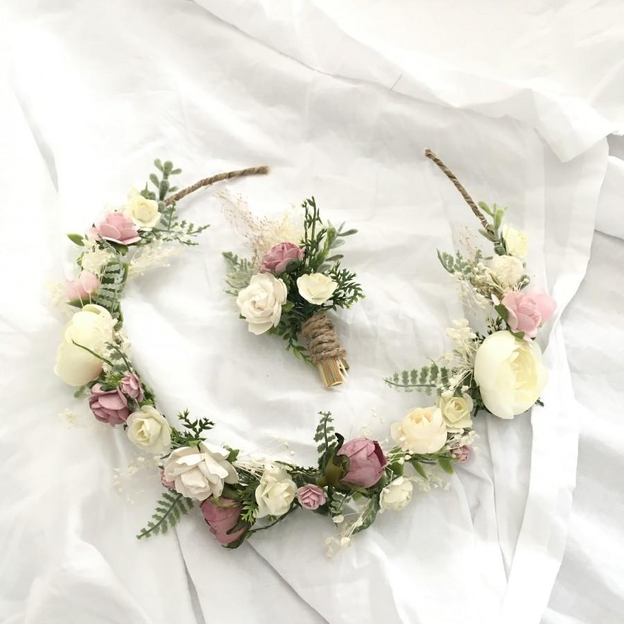 Mariage - Pink Mulberry Paper Roses Flower Crown with matchin Boutonniere / Wedding Flower Crown / Bridal Crown / Flower Girl Crown
